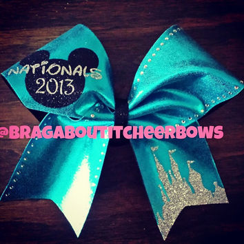 nationals or you can put your name or your team name instead cheer bow with rhinestones