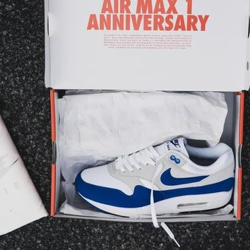 NIKE AIR MAX 1 Anniversary Fashion Leisure Sports Shoes Women Men Contrast Sneakers B-A-QDSK-Buy Micro Grey/Blue