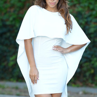 White Winging Cape Style Backless Mini Dress