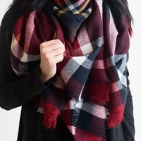 Campfire Plaid Blanket Scarf Red