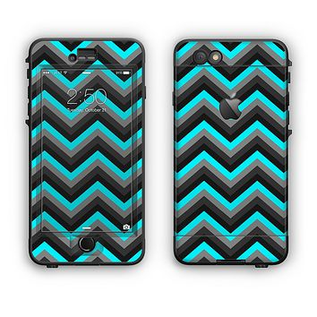 The Turquoise-Black-Gray Chevron Pattern Apple iPhone 6 LifeProof Nuud Case Skin Set