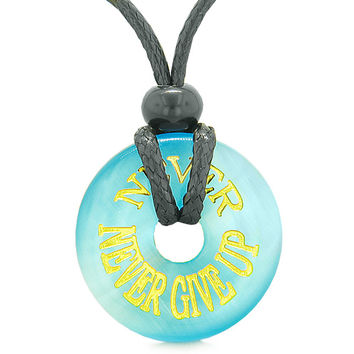 Inspiration Never Never Give Up Amulet Donut Lucky Charm Sky Blue Simulated Cats Eye Necklace