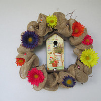 Spring wreath, Mothers Day wreath, Mothers Day, Birdhouse wreath, burlap wreath, grapevine wreath, summer wreath