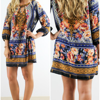 Royal Ferry Mixed Print Quarter Sleeve Keyhole Shift Dress