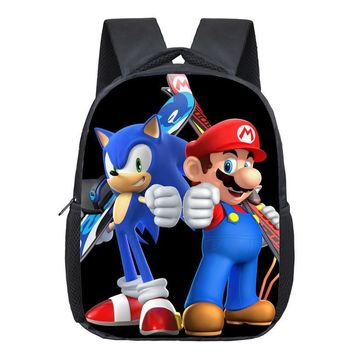 Super Mario Printing Backpack Children Cartoon Sonic Backpacks Boys Girls SchoolBag For Kindergarten Daily Backpack Kids BookBag