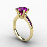 2.00ct, Amethyst ring, engagement ring, purple, White gold ring, Amethyst engagement, solitaire, micro pave, unique, custom