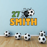 Soccer Name Decal, Soccer Wall Decal, Soccer Decor, Football Wall Decal, Soccer Player Decal, Sports Decal, Soccer Theme Room