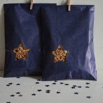Blue Kraft paper bag with a small star window set of 20 kraft bags ---Party favors, birthday party, holiday gift or wedding favor