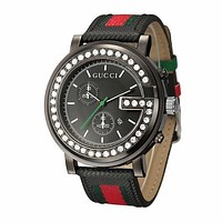 GUCCI men and women tide brand exquisite fashion quartz watch F Black wristwatch + black case + black dial