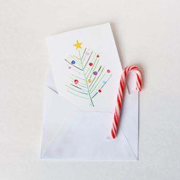 Watercolor Christmas Cards, Blank Card Set, Simple Christmas Cards, Blank Note Cards, Blank Christmas Cards, Christmas Tree, Ornaments,