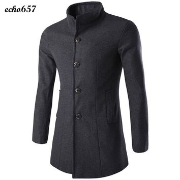 Hot Sale Fashion Men Coat Echo657 New Fashion Winter Mens Wool Blends Coat Warm Thicken Peacoat Long Overcoat Jan 3
