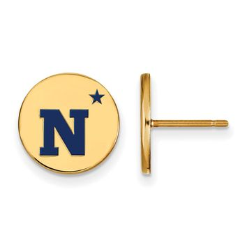 NCAA 14k Gold Plated Silver Navy Small Enamel Disc Earrings