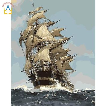 coloring by numbers sailboat on the sea picture wall art canvas paintings for living room home decor Painting Calligraphy WYA244