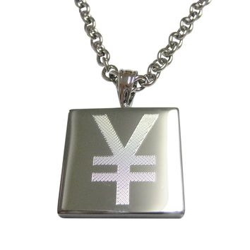 Silver Toned Etched Japanese Yen Currency Sign Pendant Necklace