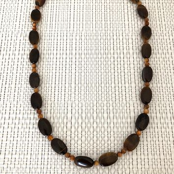 Brown Tigers Eye Mens Beaded Necklace