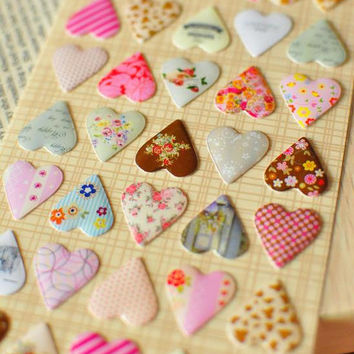 Epoxy heart Sticker Crystal sweet heart colorful country patchwork quilt style gingham dots flowers pattern diy card gift scrapbook diary