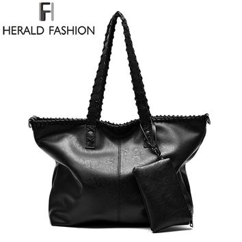 Wide Strap Women Shoulder Bag Large Capacity Tote Bag Vintage PU Leather Handbag Causal Ladies Cross Body Bag