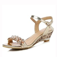 New Summer Fashion Women Sandals Sexy Crystal Bling Medium Heels Shoes Woman Wedges Sandals Party Dress Shoes