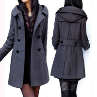 women's dark grey Wool Hooded coat double breasted button Coat Long Jacket Autumn winter coat  Hoodie Cape Women Hooded Coat outwear  XS-XL