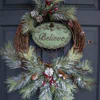 Rustic Christmas Wreaths - Outdoor Holiday Wreath - Wreaths - Holiday Decorations - Wreaths for Door -  Outdoor Wreaths
