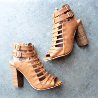 on the go double buckle heels - tan