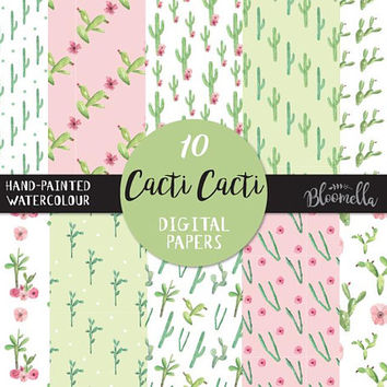 Cacti Watercolour Cactus Digital Papers - Succulents Hand Painted INSTANT DOWNLOAD Planner Stickers Seamless Scrapbooking Green PNG Leaves