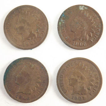 1901 1903 1904 1907 Indian Head Coin, Indian Head Cent, One Penny Copper Collectible Coins