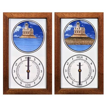 Tidepieces by Alan Winick - Penfield Light Lighthouse Fairfield CT - Tide Clock - Mahogany