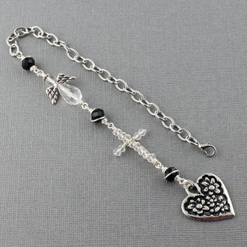 Cross Car Charm Angel Car Charm Cross For Car Accessories For Women Rear View Mirror Cross Rear View Mirror Charm Black And Clear Cross