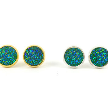 Druzy Earrings, Druzy Studs, Faux Druzy Earrings, Gold, Silver, Green, Blue Druzy Earrings, Glitter, Sparkle, Boho, Post Earrings, Holiday