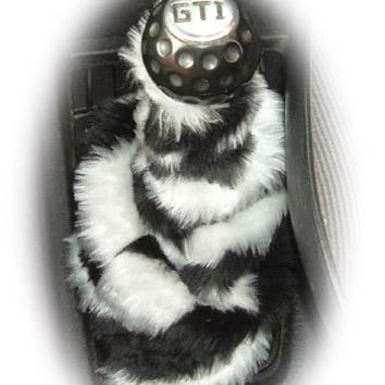 Zebra Stripe Black and White faux fur fluffy gear stick gaiter cover