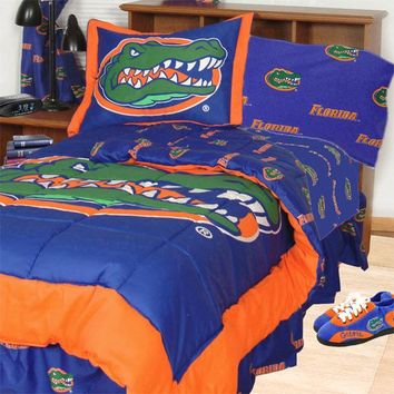 NCAA Florida Gators Bedding Set Blue Cotton Collegiate Comforter and Sheet Set
