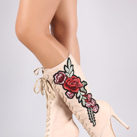 Embroidered Floral Suede Lace Up Boots | UrbanOG