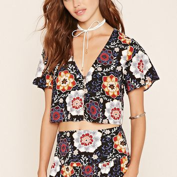 Floral Print Button-Front Top