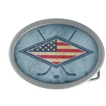 American Hockey Flag Logo Oval Belt Buckle