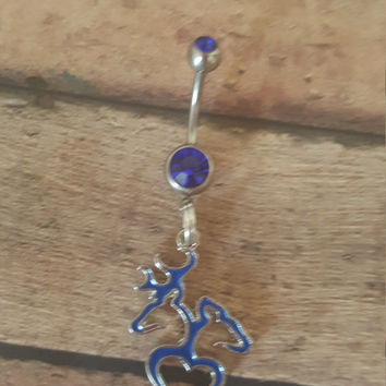 blue double gem stainless steel doe and buck belly ring.
