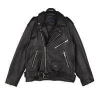 Boy Fit Loose Leather Jacket