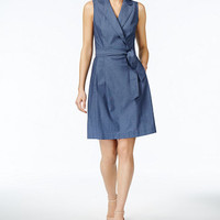 Anne Klein Cotton Chambray Faux-Wrap Dress | macys.com