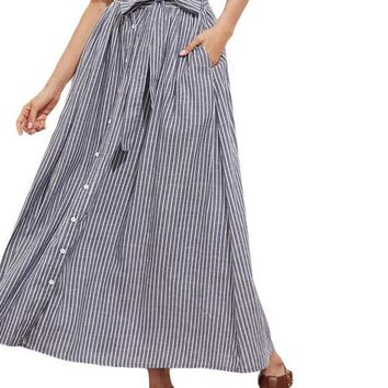 Grey Pinstripe Maxi Skirt Button Up Casual Women Self Tie Hidden Pocket Skirts Summer Bow Tie A Line Cotton Skirt