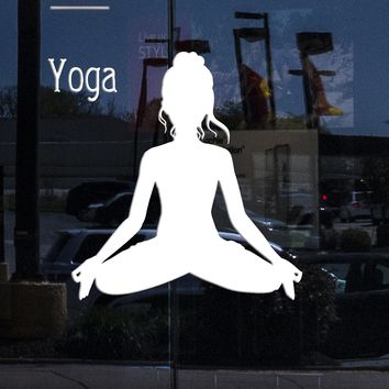 Window Sign Wall Stickers Vinyl Decal Yoga Sport Fitness Woman Decor For Living Room (z1702w)