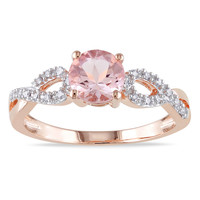 Miadora 10k Rose Gold Morganite and 1/10ct TDW Diamond Ring (H-I, I2-I3) | Overstock.com