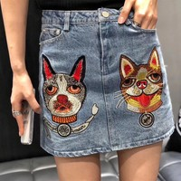 """Gucci"" Women Casual Fashion All-match Bulldog Dog Head Embroidery Show Thin Denim Short Skirt"