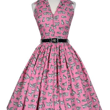 Mari Dress in Pink Kitten Print (ONLY 3 Left!)