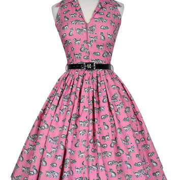 Mari Dress in Pink Kitten Print