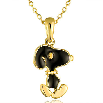 Gold Plated Snoopy Dog Inspired Necklace