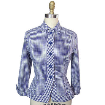 1950s Navy Blue and White Gingham Blouse