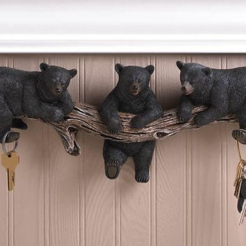 Black Bear Trio Key Hooks Decor
