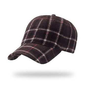 New adjustable tartan plaid 100% cotton velvet strapback baseball cap for men winter thick warm hat high quality bone gorras