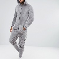ASOS Hooded Onesuit In Fleece at asos.com
