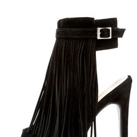 In the Right Direction Black Suede Fringe Heels